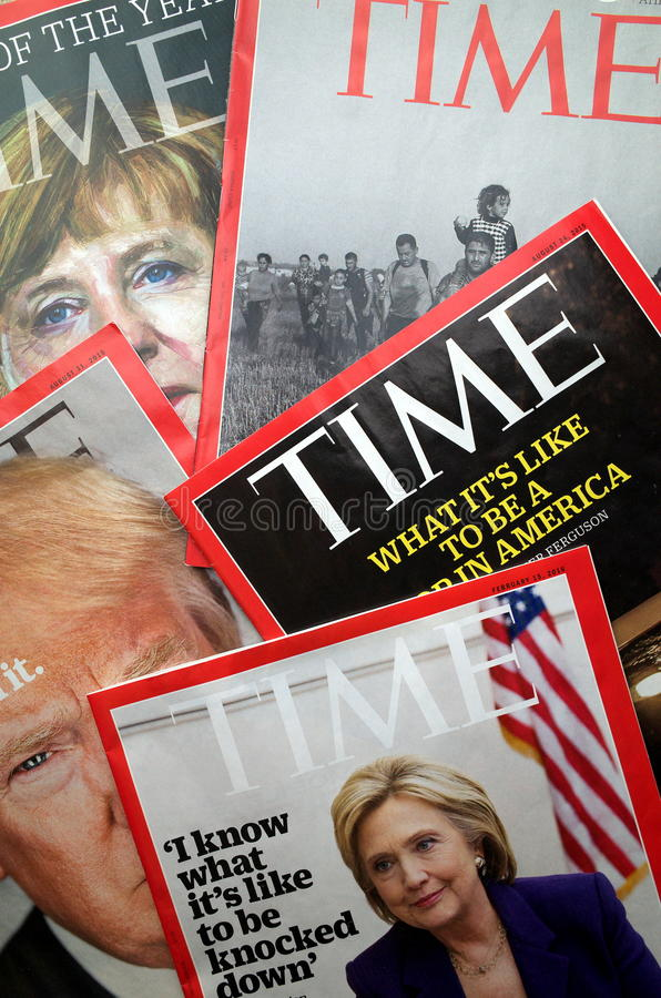 Дисплей журнала Тайм стоковые фотографии rf