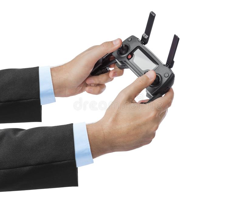 Дистанционное управление радио в руках стоковое фото