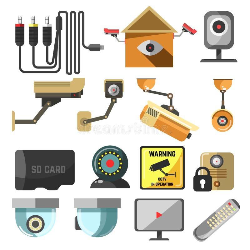 Дистанционное управление экрана безопасностью дома камеры слежения иллюстрация вектора