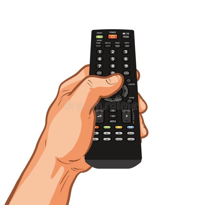 Дистанционное управление ТВ держа в руке также вектор иллюстрации притяжки corel иллюстрация вектора
