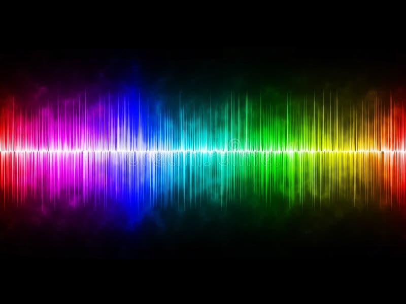 Диффузно радуга Soundwave с черной предпосылкой стоковое фото rf