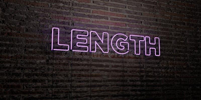ДЛИНА - реалистическая неоновая вывеска на предпосылке кирпичной стены - представленное 3D изображение неизрасходованного запаса  иллюстрация вектора