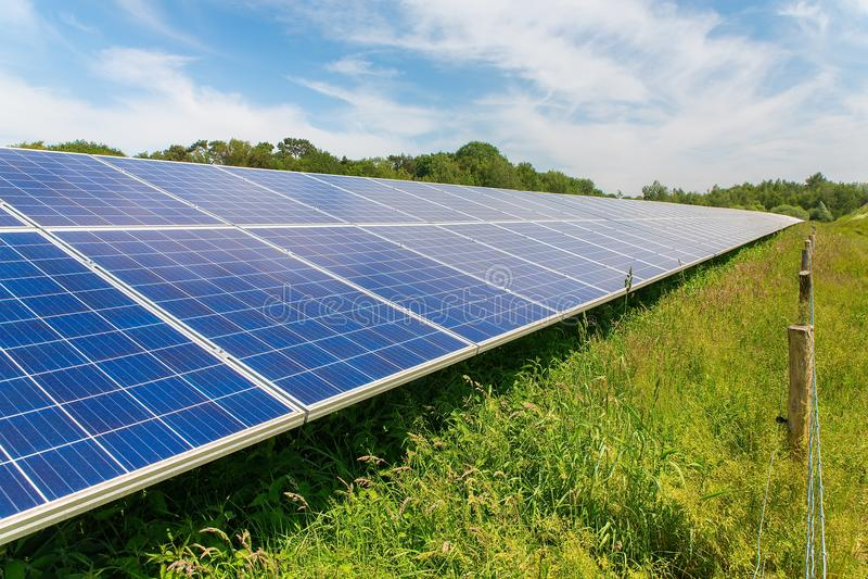 Длинная раскосная строка голубых панелей солнечных батарей стоковое фото