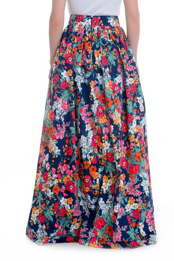 Длинная юбка на белой предпосылке стоковая фотография rf