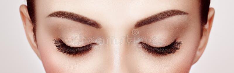 длиннее ресниц глаза ложное женское стоковое изображение