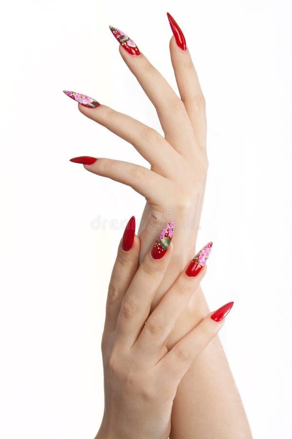 длинние ногти красные стоковые фотографии rf