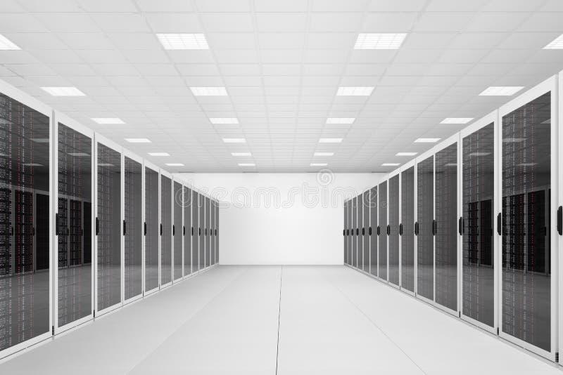 Длинний рядок шкафов сервера иллюстрация вектора