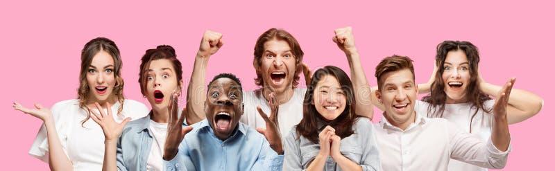 длинной с Полу конец вверх по портрету молодых людей на розовой предпосылке стоковое изображение rf