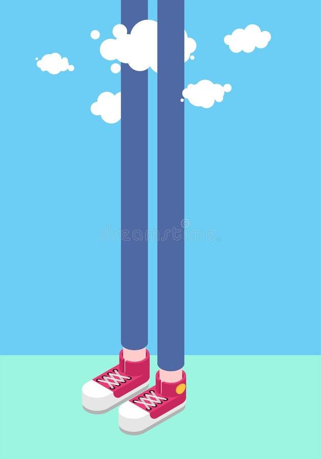 Длинные ноги человек и облака человек высокорослый Стиль Isometrics тапок бесплатная иллюстрация
