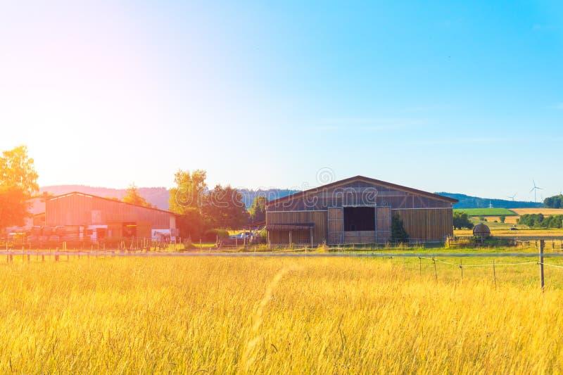 Длинный амбар на поле стоковые фото