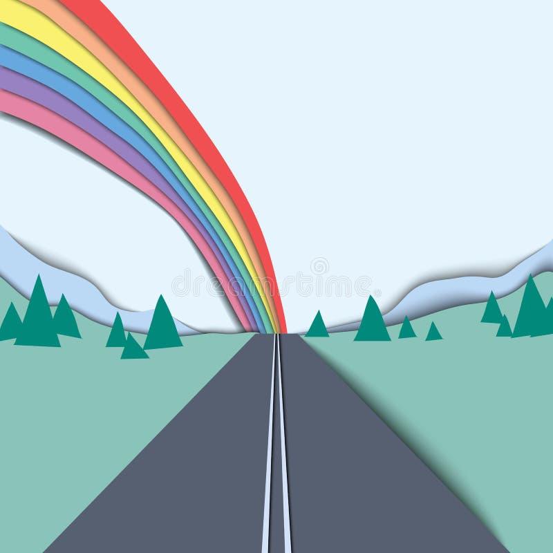 Длинный путь и радуга над ландшафтом горы и неба иллюстрация вектора