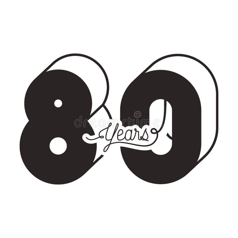 80 для значка карты торжества годовщины иллюстрация вектора