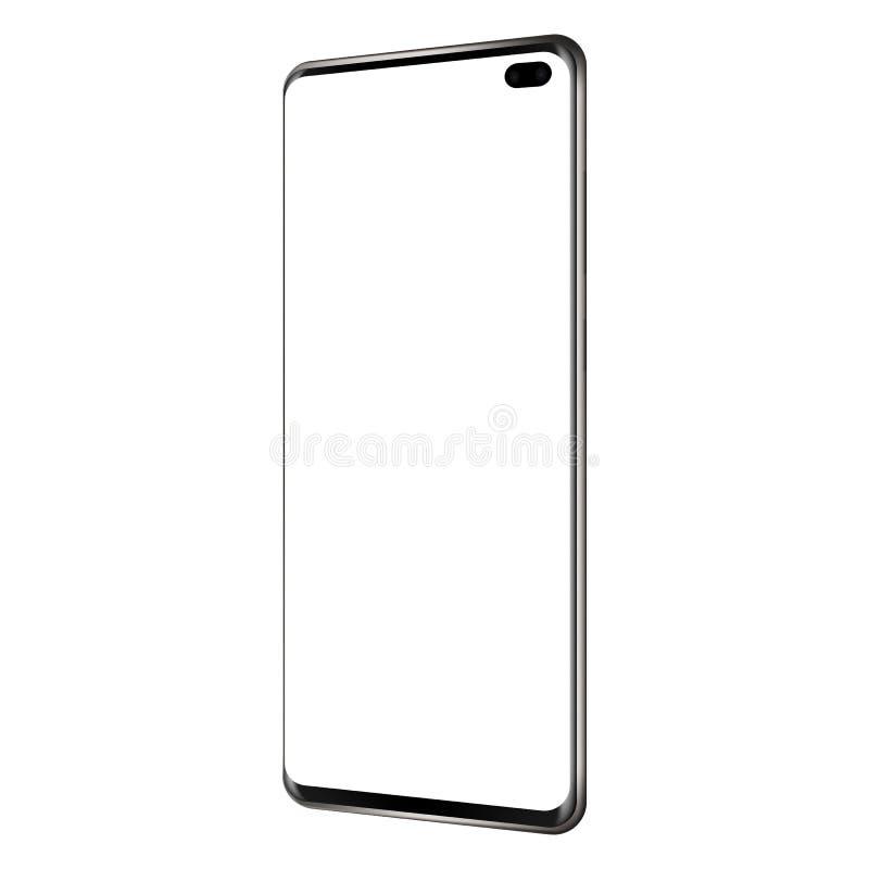New modern frameless phone - side perspective view. New modern frameless mobile phone mock up with blank screen - side perspective view. Vector illustration vector illustration