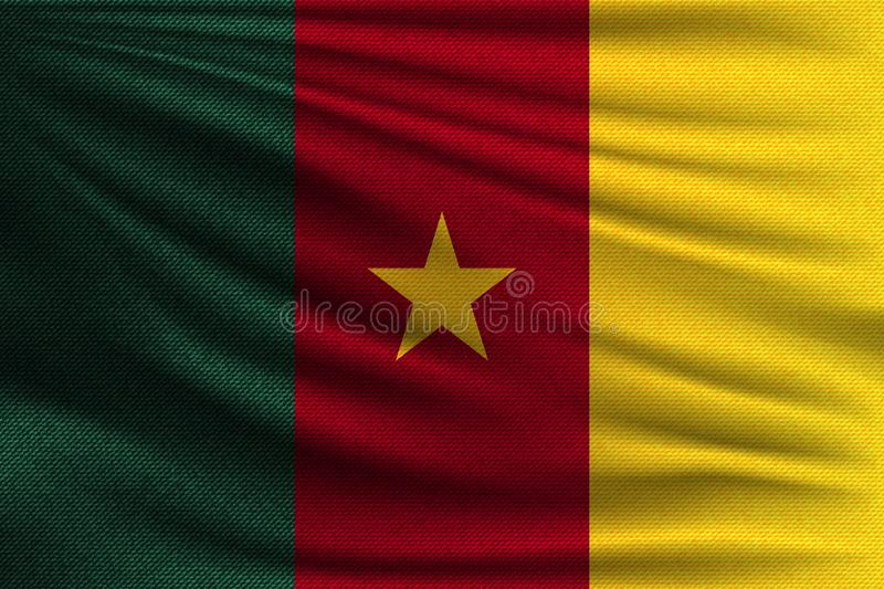 The national flag. Of Cameroon. The symbol of the state on wavy cotton fabric. Realistic vector illustration stock illustration