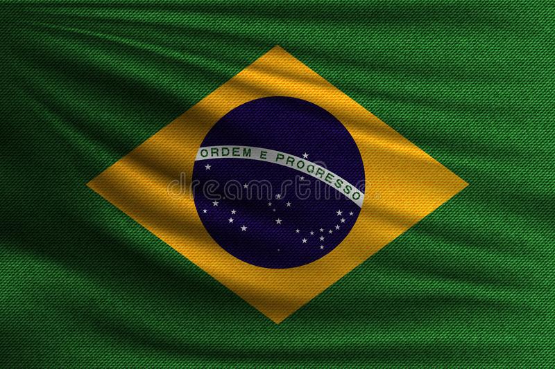 The national flag. Of Brazil. The symbol of the state on wavy cotton fabric. Realistic vector illustration royalty free illustration