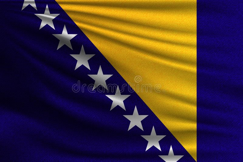 The national flag. Of Bosnia and Herzegovina. The symbol of the state on wavy cotton fabric. Realistic vector illustration stock illustration