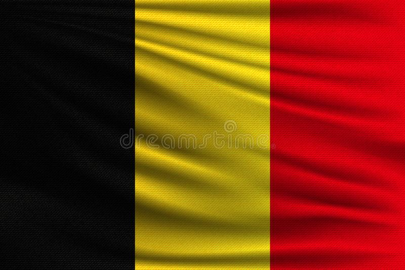 The national flag. Of Belgium. The symbol of the state on wavy cotton fabric. Realistic vector illustration stock illustration