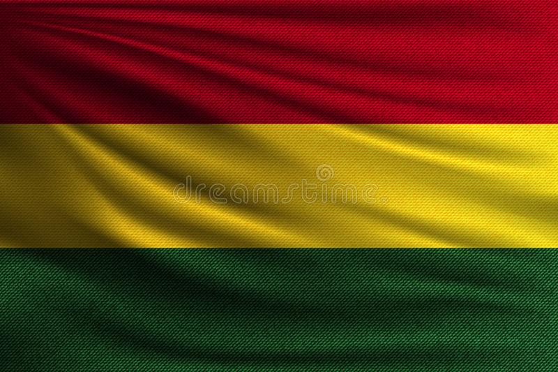 The national flag. Of Bolivia. The symbol of the state on wavy cotton fabric. Realistic vector illustration vector illustration