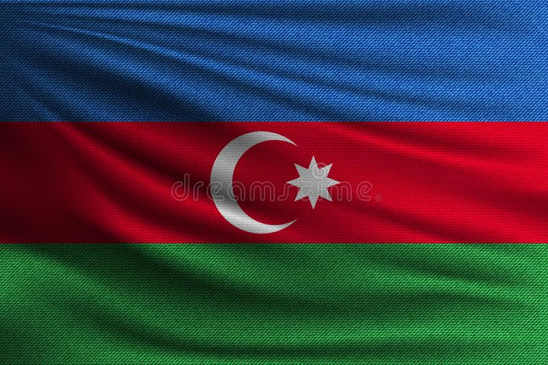 The national flag. Of Azerbaijan. The symbol of the state on wavy cotton fabric. Realistic vector illustration royalty free illustration