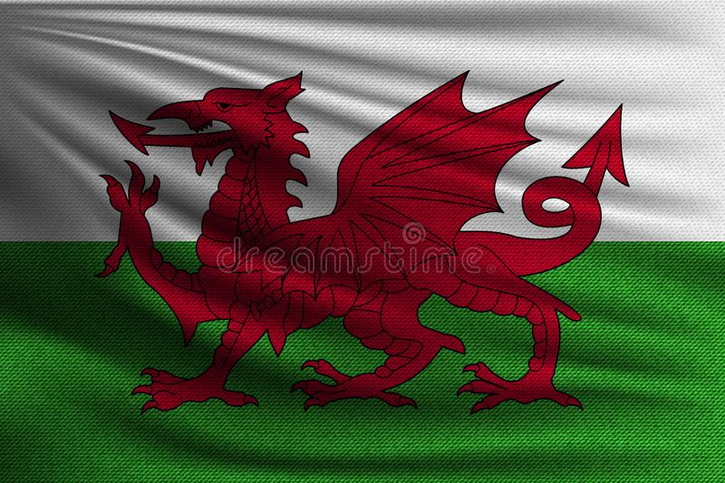 The national flag. Of Wales. The symbol of the state on wavy cotton fabric. Realistic vector illustration vector illustration