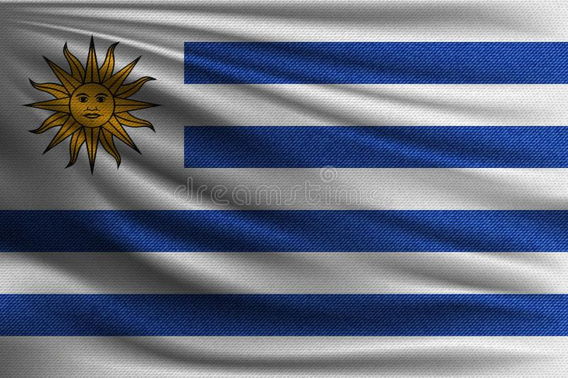 The national flag. Of Uruguay. The symbol of the state on wavy cotton fabric. Realistic vector illustration stock illustration