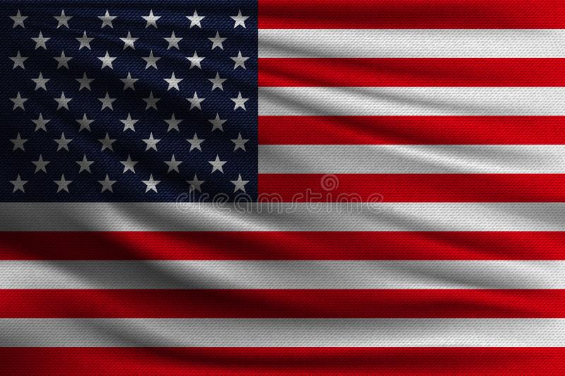 The national flag. Of USA. The symbol of the state on wavy cotton fabric. Realistic vector illustration stock illustration