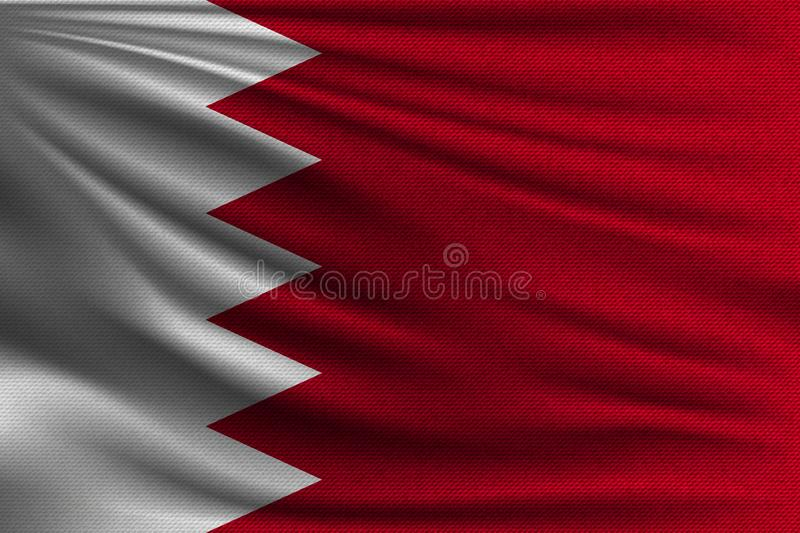 The national flag. Of Bahrain. The symbol of the state on wavy cotton fabric. Realistic vector illustration royalty free illustration