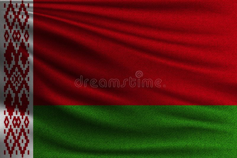 The national flag. Of Belarus. The symbol of the state on wavy cotton fabric. Realistic vector illustration vector illustration
