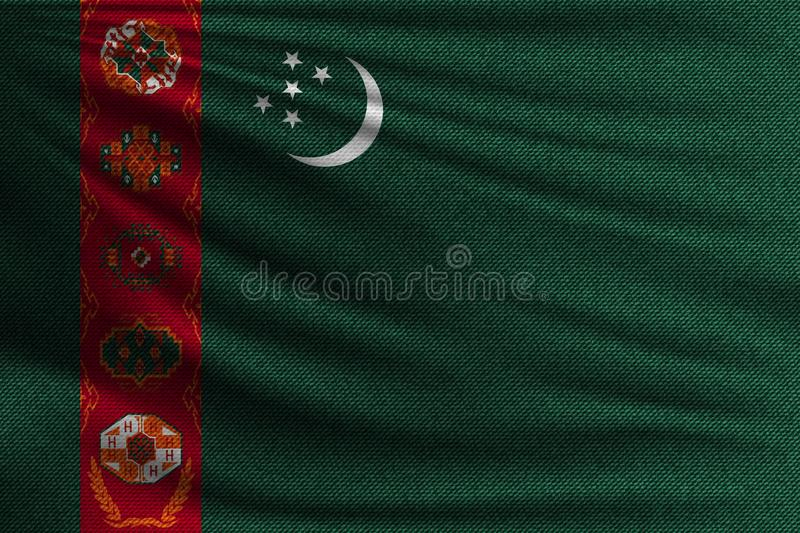 The national flag. Of Turkmenistan. The symbol of the state on wavy cotton fabric. Realistic vector illustration stock illustration