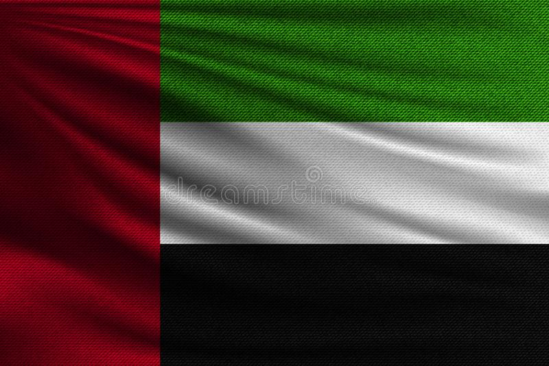 The national flag. Of United Arab Emirates. The symbol of the state on wavy cotton fabric. Realistic vector illustration vector illustration