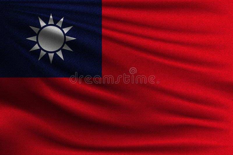 The national flag. Of Taiwan. The symbol of the state on wavy cotton fabric. Realistic vector illustration stock illustration