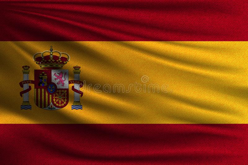 The national flag. Of Spain. The symbol of the state on wavy cotton fabric. Realistic vector illustration vector illustration