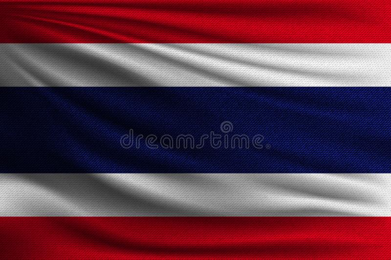 The national flag. Of Thailand. The symbol of the state on wavy cotton fabric. Realistic vector illustration vector illustration