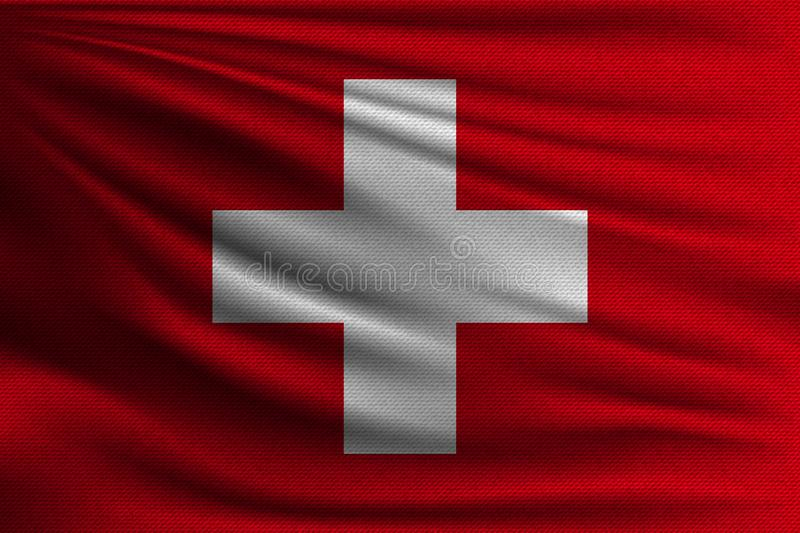 The national flag. Of Switzerland. The symbol of the state on wavy cotton fabric. Realistic vector illustration royalty free illustration