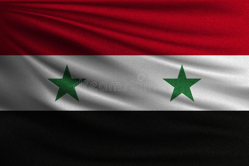 The national flag. Of Syria. The symbol of the state on wavy cotton fabric. Realistic vector illustration stock illustration