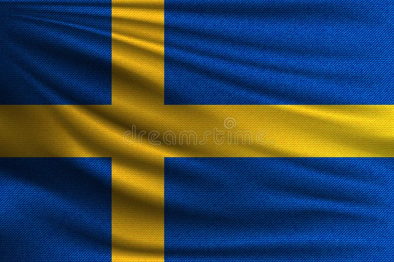 The national flag. Of Sweden. The symbol of the state on wavy cotton fabric. Realistic vector illustration royalty free illustration
