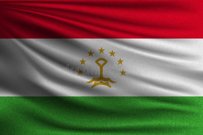 The national flag. Of Tajikistan. The symbol of the state on wavy cotton fabric. Realistic vector illustration vector illustration