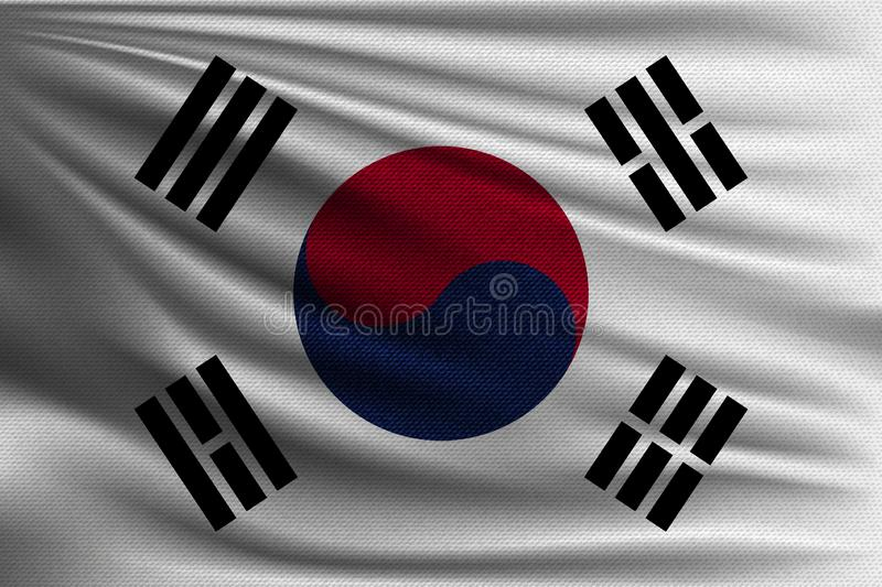 The national flag. Of South Korea. The symbol of the state on wavy cotton fabric. Realistic vector illustration vector illustration