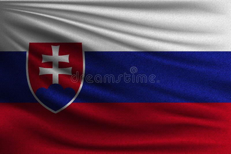 The national flag. Of Slovakia. The symbol of the state on wavy cotton fabric. Realistic vector illustration stock illustration