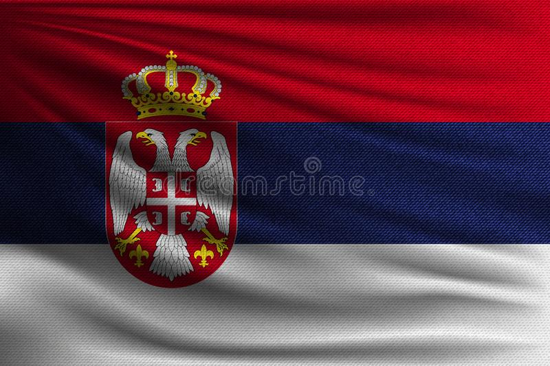 The national flag. Of Serbia. The symbol of the state on wavy cotton fabric. Realistic vector illustration stock illustration