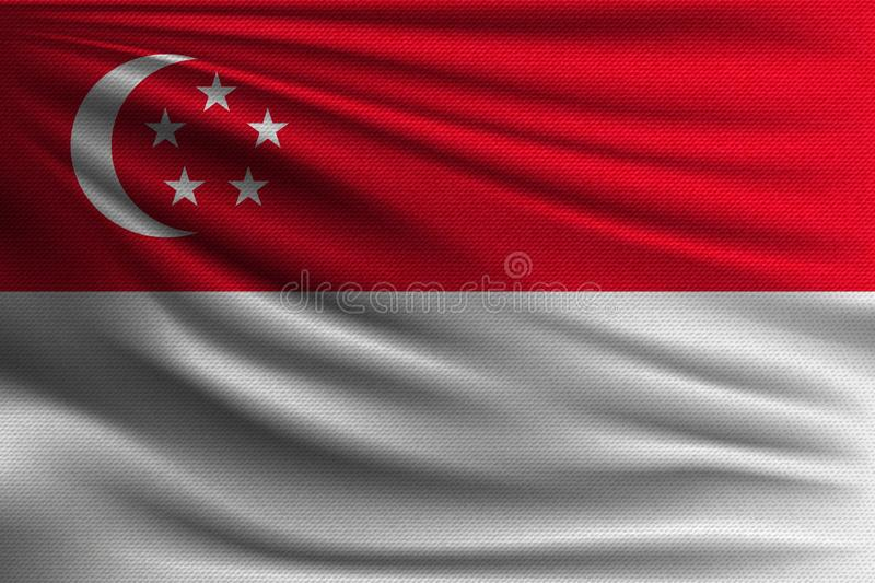 The national flag. Of Singapore. The symbol of the state on wavy cotton fabric. Realistic vector illustration stock illustration