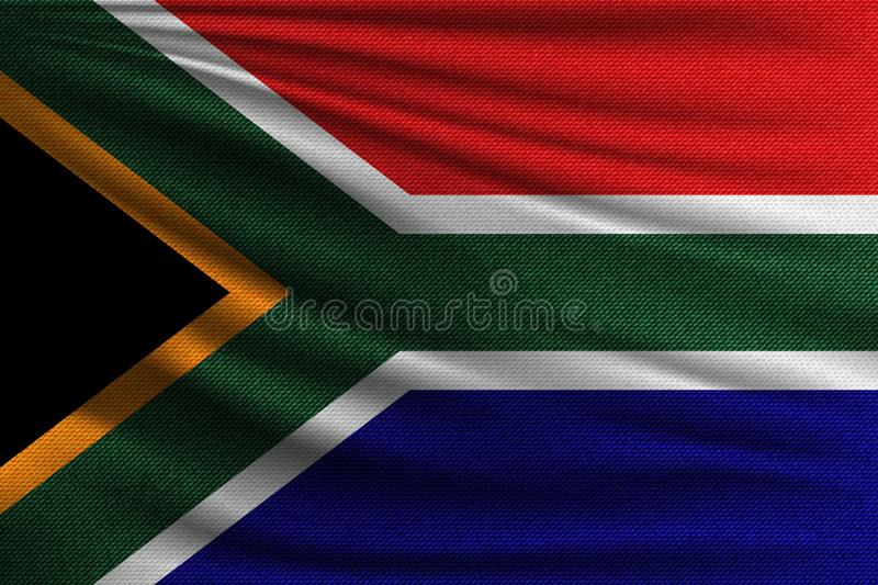 The national flag. Of South Africa. The symbol of the state on wavy cotton fabric. Realistic vector illustration stock illustration
