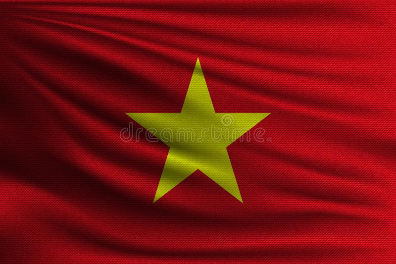 The national flag. Of Vietnam. The symbol of the state on wavy cotton fabric. Realistic vector illustration royalty free illustration