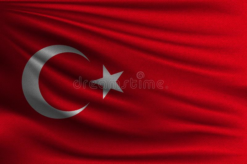 The national flag. Of Turkey. The symbol of the state on wavy cotton fabric. Realistic vector illustration vector illustration