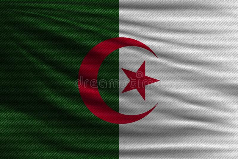 The national flag. Of Algeria. The symbol of the state on wavy cotton fabric. Realistic vector illustration royalty free illustration