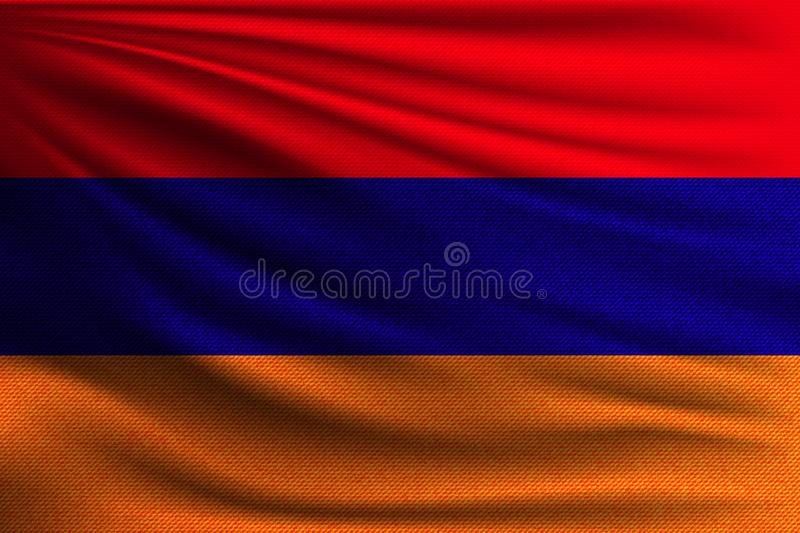 The national flag. Of Armenia. The symbol of the state on wavy cotton fabric. Realistic vector illustration stock illustration