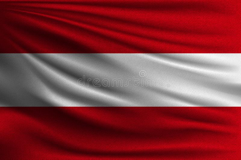 The national flag. Of Austria. The symbol of the state on wavy cotton fabric. Realistic vector illustration royalty free illustration