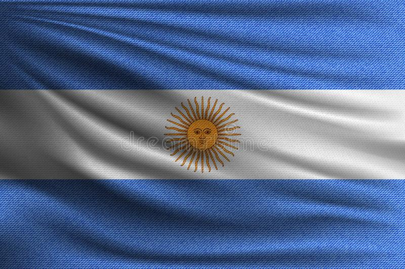The national flag. Of Argentina. The symbol of the state on wavy cotton fabric. Realistic vector illustration stock illustration