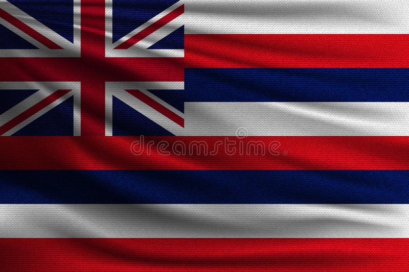 The national flag. Of Hawaiian islans. The symbol of the state on wavy cotton fabric. Realistic vector illustration stock illustration