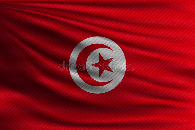The national flag. Of Tunisia. The symbol of the state on wavy cotton fabric. Realistic vector illustration stock illustration